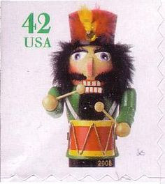 Christmas � Drummer Nutcracker (small size) ATM machine booklet stamp, serpentine die cut 8 on 2, 3 or 4 sides postag stamp, stamp christma, christma stamp, stamp collector, christma nutcrack