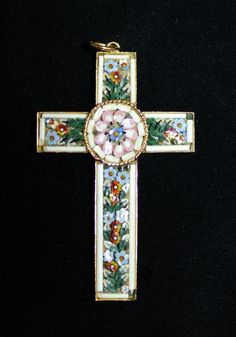 Vintage Micro Mosaic Cross Pendant Made in Italy
