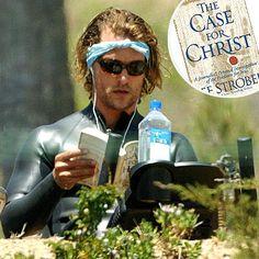 "Matthew Mcconaughey reading Lee Strobel's ""A Case for  Christ."""