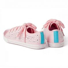 Glitter & Studs Pink Sneaker Our sparkly sneaks are anything but basic. Pretty pink, an all-over glitter toe, and side studs and studs galore, these kicks will give any outfit a little bit of rockstar edge! #littlemissmatched