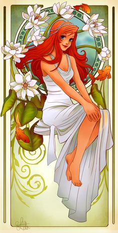 Disney Princesses reimagined after the style of Alphonse Mucha, by LadyAdler of Deviant Art.  Click through to see more, all are gorgeous!