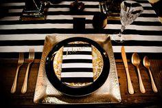 black and white striped + gold tablescape!