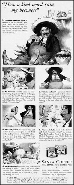 THE SLEEPY MEXICAN STEREOTYPE IN A VINTAGE AD