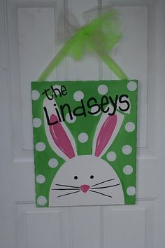 Personaized painted canvas for the door