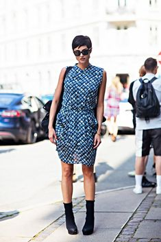 street style printed dress black ankle boots