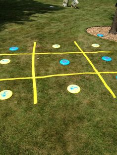 Frisbee Tic Tac Toe - fun!   To-Go option:  use colored duct-tape to make the lines on a white sheet; fold and go!