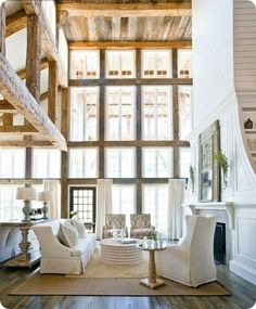 cabin, living rooms, exposed beams, window, dream, high ceilings, hous, pottery barn style, wood beams