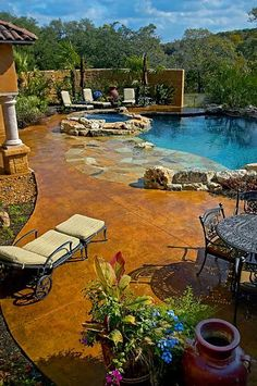 pool areas, dream pools, color, stained concrete, stone, patio, hot tubs, stamped concrete, backyard pools