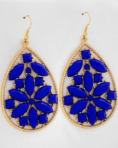royal blue and gold earrings