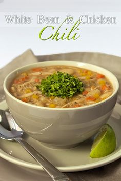 Delicious and so easy using rotiserrie or leftover chicken. White Bean Chicken Chili