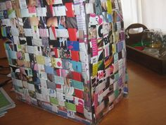 A bag made out of old magazines.
