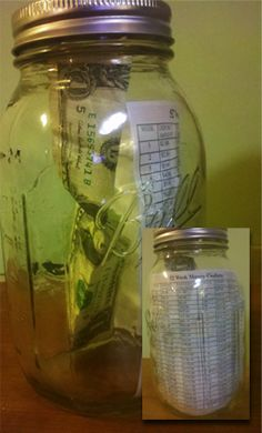 Need to try this…52 week money challenge. After the 52 weeks you will have $1,378.00!~ Im in, just printed, and caught my jar up- anyone else, I feel an extra mini vacation  I like the idea in principle, but even a little interest would add to the pot