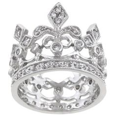 Kate Bissett Silvertone Clear Cubic Zirconia Crown-style Cocktail Ring