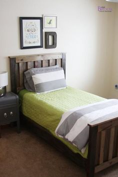 I want to make this!  DIY Furniture Plan from Ana-White.com  How to build rustic camp style pine bed! Free step by step plans include everything you need to DIY furniture!