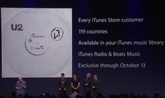 After Apple CEO Tim Cook introduced two new iPhones and the Apple Watch, he was joined by U2 and announced that the band's new album had been pushed to over 500 million users via the cloud.