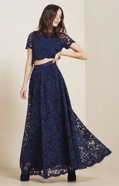 We love this lace crop top + maxi skirt bridesmaid look from Reformation for something fun + untraditional!