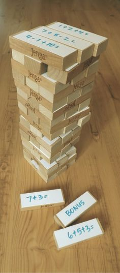 Use DIY Jenga to practice and review.