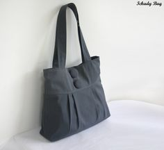 Grey Bag Purse Canvas Tote Bag  Big Buttons by ickadybag on Etsy, $32.00