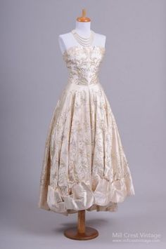 1950's Champagne Silk Satin Tea Length Vintage Wedding Dress from the store on Bridge St!