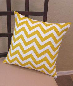 yellow chevron pillow bedroom