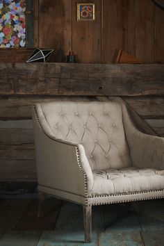 Anthropologie home decor - tufted settee with nailhead trim