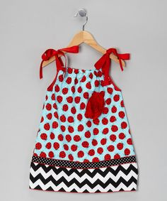 Take a look at this Red & Blue Ladybug Dress - Toddler & Girls by Million Polkadots on #zulily today!