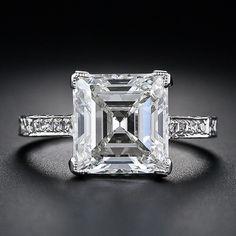 3.46 Carat Edwardian asscher cut engagement ring, VVS2 clarity, J color