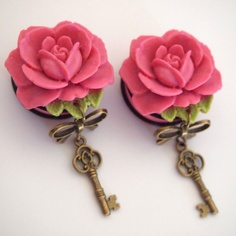 Pink Skeleton Key 1 1/8 inch 28mm Acrylic Plugs  by Glamsquared, $43.00