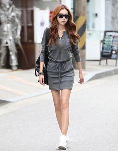 Stylish Round Neck Zipper Design Waist Drawstring Long Sleeve Solid Color Over Hip Dress For Women (GRAY,ONE SIZE) | Sammydress.com