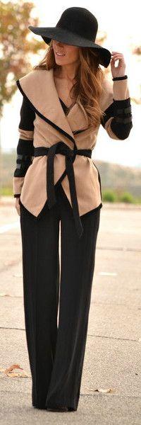 jacket, wide leg pants, camel, woman fashion, fashion clothes