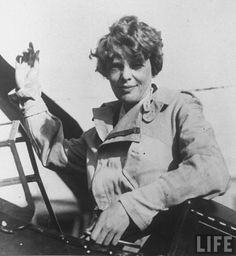 Amelia Earhart  Earhart was the first female pilot to fly solo over the Atlantic. Earhart disappeared in a circumnavigational flight of the globe in 1937 near Howland Island in the Pacific Ocean. Date: 1932. Photographer: Unknown