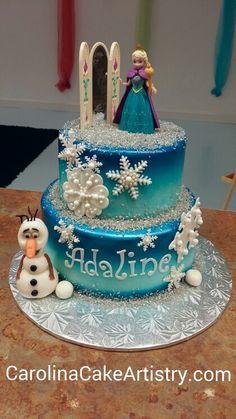 "Really cute ""Frozen"" birthday cake we made!"