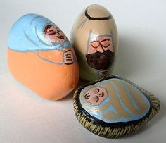 Nativity scene figures painted on rocks using pastel acrylic shades - (nativity sets)
