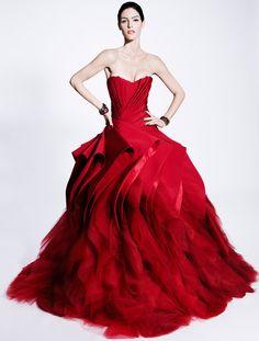 wedding dressses, fashion, weddings, gowns, dresses, zacposen, ball gown, zac posen, red wedding