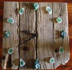 On beach time! Driftwood with seaglass. I want to make this! could use cute buttons too (: lake houses, beach crafts, clock, beach houses, glass walls, beach time, sea glass, seaglass, barn wood