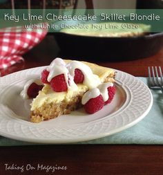 Key Lime Cheesecake Skillet Blondie with White Chocolate Key Lime Glaze | Taking On Magazines | www.takingonmagazines.com | Brownies have nothing on this dessert. The perfect skillet blondie is topped with key lime cheesecake and a glorious white chocolate key lime glaze.