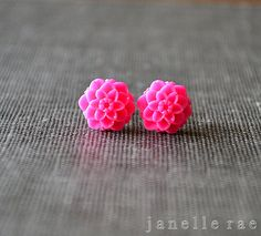 Tiny Dahlia Flower Earrings - Just got these in the mail; the perfect color, and the perfect size.