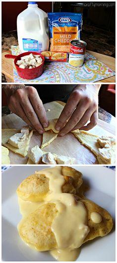 Easy Chicken Crescent Rolls Recipe #Dinner idea - Using cream of chicken, cheddar cheese, milk.... | CraftyMorning.com