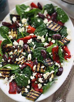 Grilled vegetable salad with feta, baby spinach & kalamata olives - MediterrAsian.com