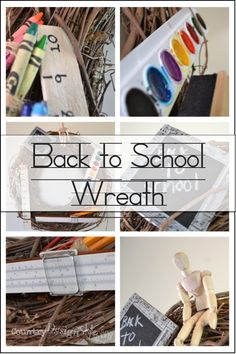 Back to School Wreath http://countrydesignstyle.com #backtoschool #wreath