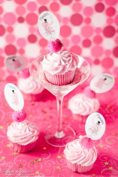 Cosmopolitan cupcakes with buttercream frosting. They sound delish (and what a great way to serve cupcakes!).