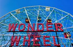 """The spinning crown jewel of one of the U.S.'s most historic amusement parks, Coney Island's Wonder Wheel jn New York City has elevated riders since 1920. Rotating above the boardwalk, this Ferris wheel features a rare """"swinging"""" feature, which allows 16 of the ride's 24 gondolas to slide back and forth on a track, adding a thrilling touch of danger to the experience. It reaches a height of 150 feet and can carry 144 people at full capacity."""