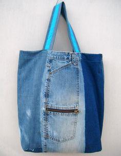 Destressed Repurposed Patchwork Denim Tote Bag - Blue and Black Denim and Turquoise