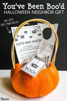 "Have fun this year with this ""You've Been Boo'd"" Halloween Neighbor Gift! Includes free printable label, instructions, and door hanger. #plumpicks #bakerstwine"