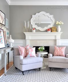 coral + gray living room via @Centsational Blog Girl