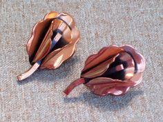 Vintage RENOIR Copper Floral Calla Lily Flower BLOSSOM Screwback Earrings #Renoir