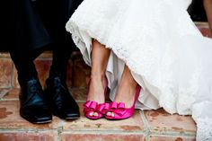 The contrast between the Hot Pink Shoes and the White Wedding dress gave an amazing POP in this wedding.