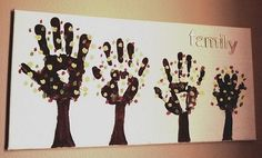 Homemade Family Hand Print Trees