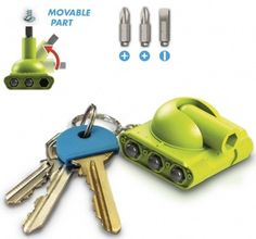 Multi-tool key chain featuring three screwdriver heads disguised within the tracks of the tank.