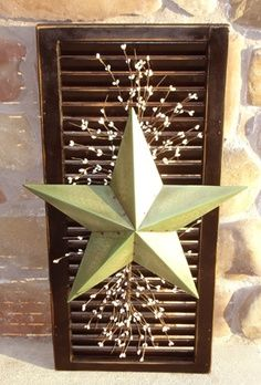 old wooden shutters, old shutters, primitive crafts, christmas decorations, front doors, hous, rustic front door ideas, front porches, country stars